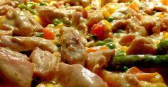 Egyszerű, gyors és nagyon finom. Ehetjük tésztával, rizzsel, krumplival, vagy csak úgy magában.  Ha dupla mennyiségű zöldséggel k... Hungarian Recipes, Meat Recipes, Pasta Salad, Food And Drink, Lunch, Homemade, Dishes, Chicken, Cooking