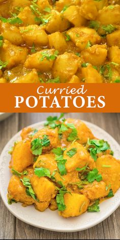 Curried Potatoes - This is a simple, tasty, and foolproof Potato Curry recipe. Made with coconut milk, this dish is fi - Tasty Vegetarian Recipes, Veggie Recipes, Healthy Dinner Recipes, Indian Food Recipes, Whole Food Recipes, Cooking Recipes, Vegetarian Dinner For One, Simple Vegetarian Meals, Vegan Recipes
