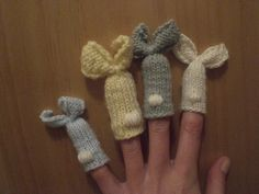 knit bunny finger puppets