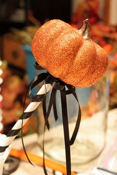 DIY glitter pumpkins on a stick....fun gift or make a few for your fall tablescape