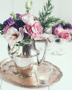 Elegant, table decor with silver coffee services, pink and purple flowers. Tea Light Candles, Tea Lights, Pink And Purple Flowers, Coffee Service, Glass Vase, Vintage Ideas, Vintage Table, Shabby Chic, Rustic