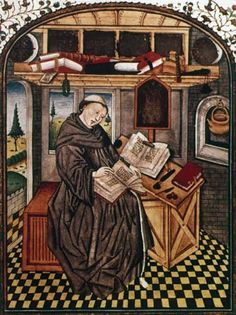 Photograph:A monk copies a manuscript in the scriptorium of a monastery, in a miniature from a 14th-century French book. Before the introduc...