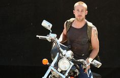 Ryan Gosling with his Honda Shadow 750