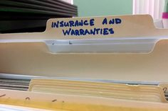 File folder for home insurance and warranties - Want to rest assured you have all the documents you need when you need them, but not be awash in paper? Read on.  Read more: http://www.houselogic.com/home-advice/taxes-incentives/how-long-to-keep-tax-records/#ixzz3IclNX6Y4  Follow us: @HouseLogic on Twitter | HouseLogic on Facebook
