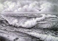 Pencil drawings. Drawing. Wave. Kulagin Oleg
