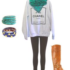Love this outfit except for the scarf and jewelry. Loooove the oversized vintage Chanel sweatshirt with the tights and TB riding boots!