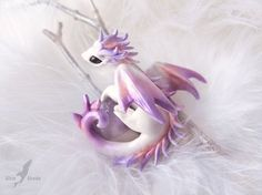 Little dragon of Winter Dawn  OOAK miniature by AlviaAlcedo
