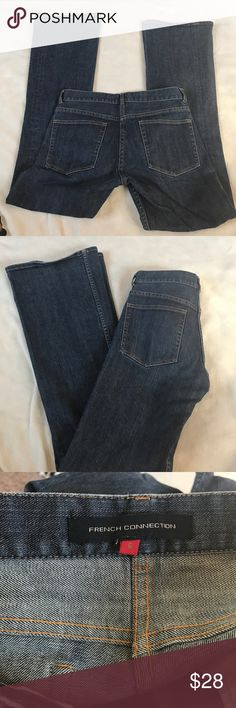 "French Connection Flare Jeans Stretch. 32.5"" inseam. Belle Bottom flare style. Excellent condition. Medium/dark rinse. Skinny fit that glares out at knees. Bundle 2 or more items for a discount French Connection Jeans Flare & Wide Leg"