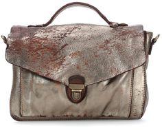 wardow.com - #campomaggi, Linea School Bag Schultertasche Leder silber 28 cm
