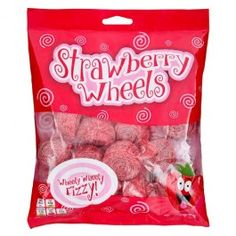 NEW! Retro Sweets Range... Fizzy Strawberry Wheels. Chewy strawberry flavour curled candy, covered with fiz! ...