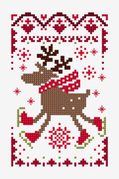 Free embroidery ,cross stitch patterns , crochet and knitting pattterns Xmas Cross Stitch, Modern Cross Stitch, Cross Stitch Charts, Cross Stitching, Cross Stitch Embroidery, Cross Stitch Patterns, Deer Pattern, Cross Stitch Freebies, Embroidery Patterns Free