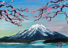 fuji mount acrylics painting acrylic landscape japan japanese mountain simple paintings cherry canvas blossom inch reddit