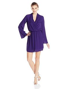 XOXO Juniors Long Sleeve Surplus Front Dress Purple Large *** Find out more about the great product at the image link.