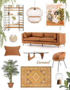 Moodboard for home decor in browns caramel interior color trend Living Room Ideas 2020, Living Room Designs, Tan Sofa Living Room Ideas, Brown Interior, Home Interior, Color Interior, Interior Design Boards, Interior Livingroom, Interior Ideas