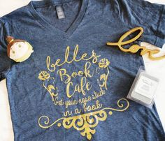 Belle's Book Cafe Vneck//Beauty and the beast shirt//be our guest//disney shirt/wdw//disney world shirt//belle shirt//coffee shirt/starbucks by WhenYouWishApparel on Etsy https://www.etsy.com/listing/495317071/belles-book-cafe-vneckbeauty-and-the