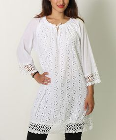 Take a look at the White Floral Pointelle Crochet Tunic - Women & Plus on #zulily today!