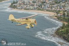 Waco Bi-Plane on a Fighter Pilot Sunshine Coast Australia adventure flight. Photography by Mark Greenmantle. Adventure Company, Coast Australia, Fighter Pilot, Sunshine Coast, Aviation, Aircraft, Planes, Photography, Pilots