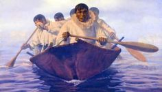 The Anchorage Museum�s Art of the North galleries include this 1973 oil painting by Alaska artist Fred Machetanz titled �Quest for Avuk.�