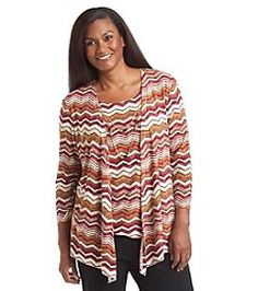 Alfred Dunner® Plus Size Villa D este Zig Zag Layered Look Top   alfreddunner  layers  zigzag  print  zigzagprint  pattern  fall2015   falloutfit  plussize 201a33178