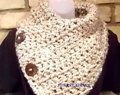 Items similar to The Original BOSTON HARBOR SCARF in Cream | Warm, soft & stylish scarf with 3 coconut buttons | Sale on Etsy