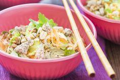 Glass noodle salad with citrus soy dressing - recipes - eat well Vegetable Lasagne, Vegetable Puree, Vegetable Salad, Quinoa, Feta, Glass Noodle Salad, Rainbow Salad, Budget Meals, Budget Recipes