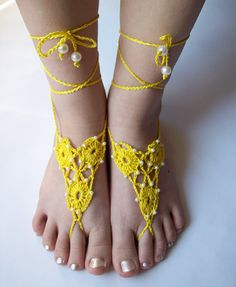 Sexy yellow crocheted barefoot sandals