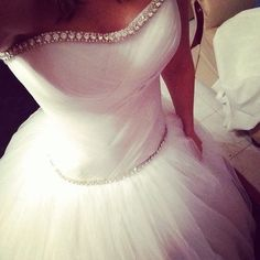 White and Gold Wedding. Sweetheart Corset Ballgown Dress.