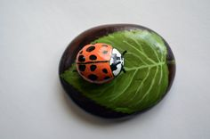 Hand Painted Stone - Ladybug on leaf