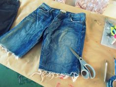 I love the relaxed look of cutoff shorts but for me Short, shorts are out of the question. I have never been able to wear them . Diy Shorts, Denim Cutoff Shorts, Denim Shirt, Diy Distressed Jeans, Distressed Bermuda Shorts, Cut Jean Shorts, Boyfriend Shorts, Cut Off Jeans, Sewing
