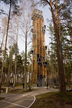 Observation Tower designed by ARHIS - photo by Arnis Kleinbergs, via archdaily; at the Dzintaru Mezaparks in Jurmala, Latvia Landscape Structure, Landscape Architecture, Landscape Design, Architecture Design, Architecture Mapping, Classical Architecture, Lookout Tower, Roubaix, Tower Design