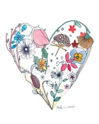 """Valentines Day Floral Heart Watercolour Zentangle Art Drawing 8x10"""" Print (unframed). $25.00, via Etsy."""