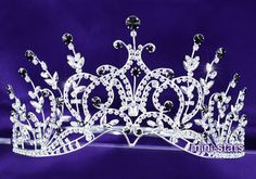 Bridal Wedding Pageant Beauty Contest Black Crystal Tall Tiara Crown AT1389 #Crown #BeautyContestPageant