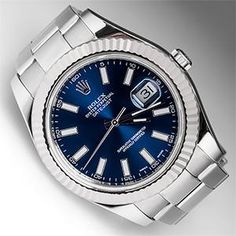 Stainless Steel Rolex with Blue face