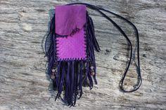 Purple Goat and Deer Leather Medicine Bag with Real Snake Skin, Fringed, Beaded, Agate Obelisk, Amethyst, Jasper, Quartz, Fluorite, Opal