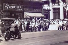 "In this photo, we see the public gather at the corner of Sixth and Spring Streets in downtown Los Angeles in 1929 to watch Paramount film ""The Mighty."" What I like most are the two stores in the background. One of them – a cigar store called United Cigars – we hardly see anymore, and the other – The Typewriter Shop – we haven't seen in years. I guess its equivalent today would be an Apple Store."