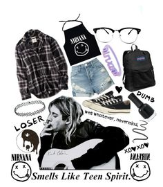 """""""Smells Like Teen Spirit//Nirvana"""" by kitcat01 ❤ liked on Polyvore featuring American Eagle Outfitters, 3x1, Converse, JanSport, Charlotte Russe and Maybelline"""