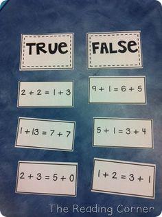 True/False Math Sentences FREE via NoodleNook.Net