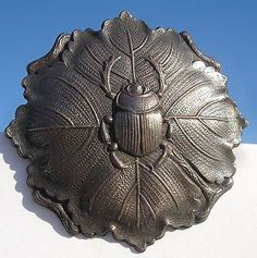 """Beetle Scarab Realistic Leaf"" Bug 1940s Pewter Vintage Antique Picture Button 