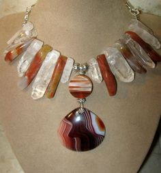 BIG HUGE AGATE PENDANT BEAD CRYSTAL POINT GEM NECKLACE!! SEE EARRINGS! | GoGemCreations - Jewelry on ArtFire