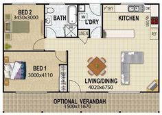 Plano de Casa Pequeña con lavadero