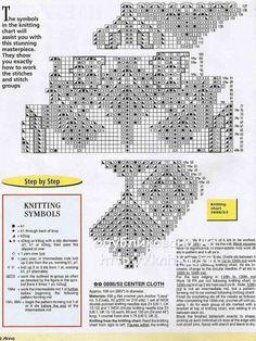 Вязаная спицами скатерть. Работа Васюткиной Ирины вязание и схемы вязания