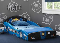 Comics Batman Batmobile Car Sleep and Play Toddler Bed with Attached Guardrails