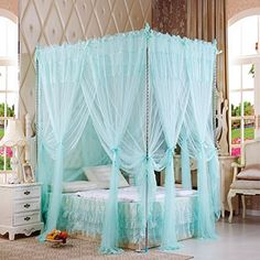 XH H&C Luxury bedroom solid mosquito summer autumn lace bow lace Princess Palace landing nets Bedroom Turquoise, Bedroom Green, Cozy Bedroom, Dream Bedroom, Bedroom Decor, Bedroom Inspo, Bedroom Ideas, Country Bedroom Design, French Country Bedrooms
