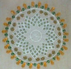 Beaded milk jar doilies