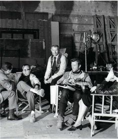 Sergio Leone, Lee Van Cleef and Clint Eastwood chillin' on the set of A Few Dollars More, 1965
