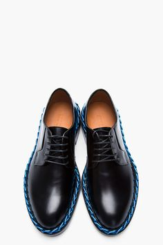 5bacd9bcba6234 RAF SIMONS Black Leather Chain-Embellished Derbys