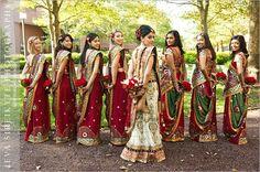 #BridesMaids: Bringing sexy back! Indian Wedding Bridesmaids, Indian Bridesmaid Dresses, Bridesmaid Saree, Bridesmaid Outfit, Desi Wedding, Indian Weddings, Bridesmaid Color, Bridesmaid Poses, Bollywood Wedding