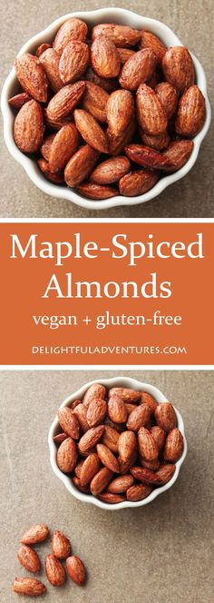 Maple Spiced Almonds are a quick, easy, and delicious recipe to throw together for snacks or for when you'll be entertaining guests! Healthy Vegan Snacks, Vegan Desserts, Veggie Snacks, Vegetarian Food, Appetizer Recipes, Snack Recipes, Cooking Recipes, Paleo Recipes, Nachos