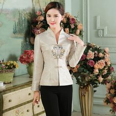 Stylish Modern Frog Button Open Neck Tang Shirt - Chinese Jackets & Coats - Women