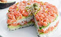 Pastel de Sushi - Si te encanta el sushi te encantará esta receta. Es sushi en forma de pastel con tu relleno favorito. Ideal para comidas y cenas. ¡Delici